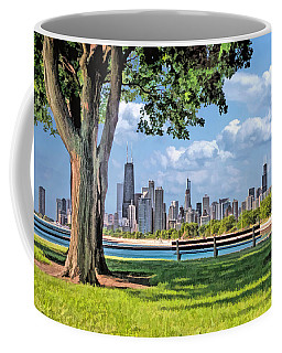 Coffee Mug featuring the painting Chicago North Skyline Park by Christopher Arndt