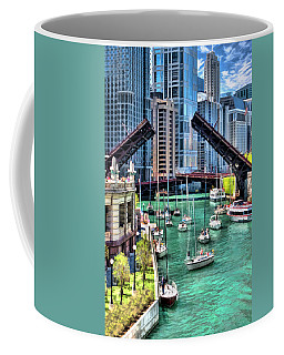 Coffee Mug featuring the painting Chicago River Boat Migration by Christopher Arndt