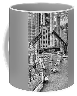 Coffee Mug featuring the photograph Chicago River Boat Migration In Black And White by Christopher Arndt