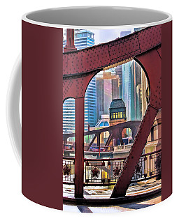 Coffee Mug featuring the painting Chicago River Bridge Framed by Christopher Arndt