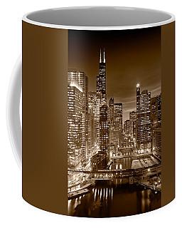 Chicago River City View B And W Coffee Mug