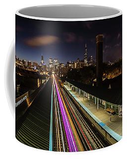 Chicago Skyline And Train Lights Coffee Mug
