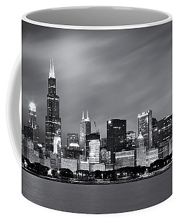 Coffee Mug featuring the photograph Chicago Skyline At Night Black And White  by Adam Romanowicz