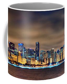 Chicago Skyline At Night Panorama Color 1 To 3 Ratio Coffee Mug