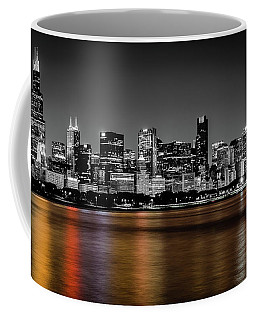 Chicago Skyline - Black And White With Color Reflection Coffee Mug