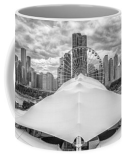 Coffee Mug featuring the photograph Chicago Skyline From Navy Pier Black And White by Adam Romanowicz