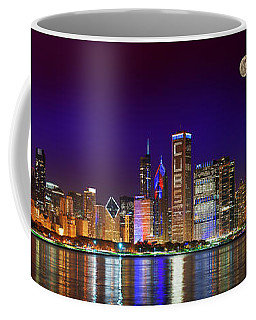 Chicago Skyline With Cubs World Series Lights Night, Moonrise, Lake Michigan, Chicago, Illinois Coffee Mug