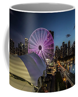 Chicago Skyline With New Ferris Wheel At Dusk Coffee Mug