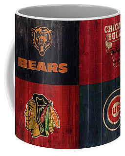 Chicago Sports Teams Rustic Wood Coffee Mug