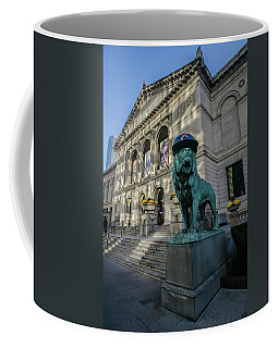 Chicago's Art Institute With Cubs Hat Coffee Mug