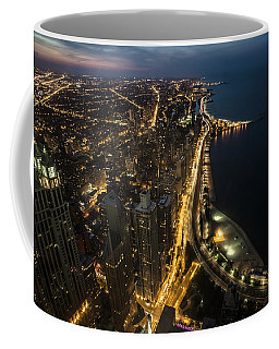 Chicago's North Side From Above At Night  Coffee Mug