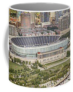 Coffee Mug featuring the photograph Chicago's Soldier Field Aerial by Adam Romanowicz
