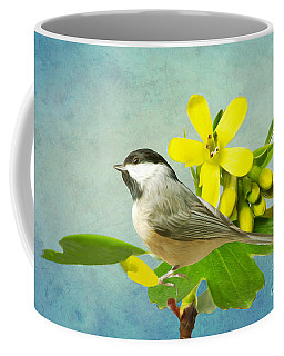 Chickadee And Flowers Coffee Mug