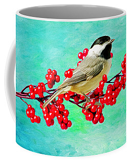 Chickadee And Winterberry Coffee Mug