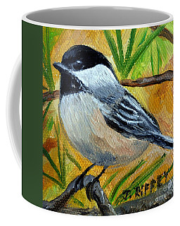 Chickadee In The Pines - Birds Coffee Mug