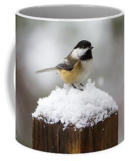 Chickadee In The Snow Coffee Mug