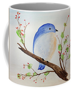 Chickadee On A Branch With Leaves Coffee Mug