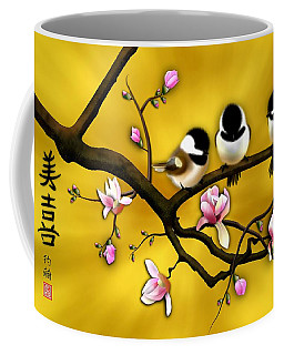 Coffee Mug featuring the digital art Chickadee On Blooming Magnolia Branch by John Wills