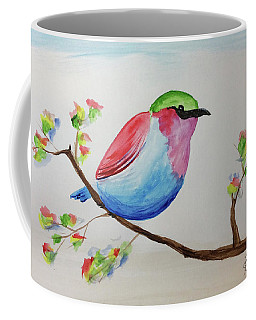 Chickadee With Green Head On A Branch Coffee Mug