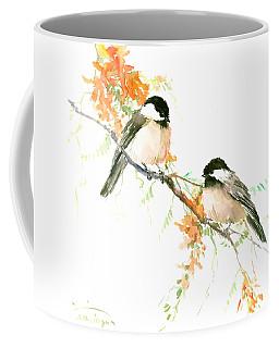 Chickadees And Orange Flowers Coffee Mug
