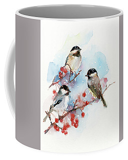 Chickadees With Berries Coffee Mug