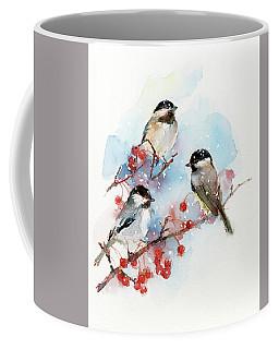 Chickadees With Berries Coffee Mug