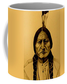 Coffee Mug featuring the drawing Chief Sitting Bull  Tatanka Iyotake by Michelle Dallocchio