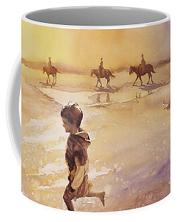 Coffee Mug featuring the painting Child On Beach- Ocracoke Island, Nc by Ryan Fox