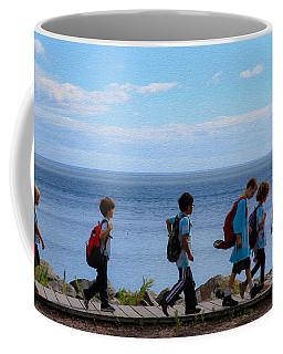 Children On Lake Walk Coffee Mug