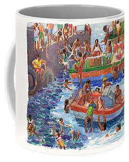 Coffee Mug featuring the painting Children Playing At Avarua Wharf  by Judith Kunzle