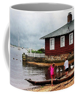 Coffee Mug featuring the photograph Children Playing At Harbor Essex Ct by Susan Savad