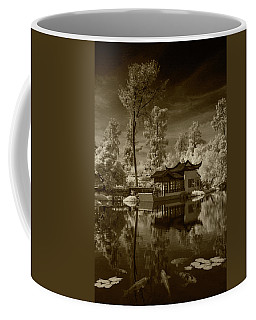Coffee Mug featuring the photograph Chinese Botanical Garden In California With Koi Fish In Sepia Tone by Randall Nyhof