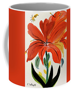 Chinese Brush Work Bee And Flower Coffee Mug