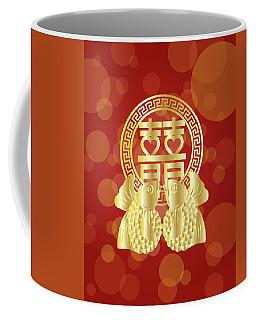 Chinese Double Happiness Koi Fish Red Background Coffee Mug