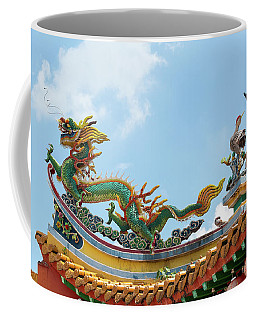 Chinese Dragon And Phoenix On Temple Roof Coffee Mug