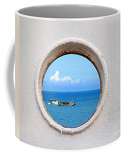 Chinese Fishing Boat Seen Through A Porthole Coffee Mug