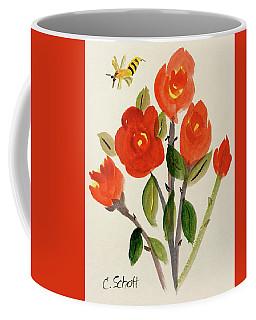 Chinese Red Rose With Bee Coffee Mug