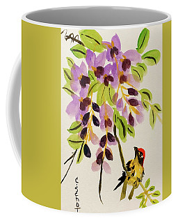 Chinese Wisteria With Warbler Bird Coffee Mug