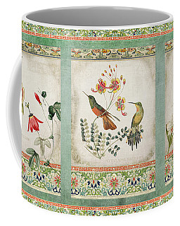 Triptych - Chinoiserie Vintage Hummingbirds N Flowers Coffee Mug