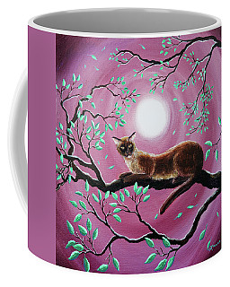Chocolate Burmese Cat In Dancing Leaves Coffee Mug