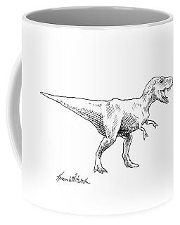 Coffee Mug featuring the drawing Tyrannosaurus Rex Dinosaur T-rex Ink Drawing Illustration by Karen Whitworth