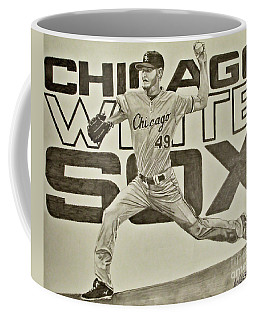 Coffee Mug featuring the drawing Chris Sale by Melissa Goodrich