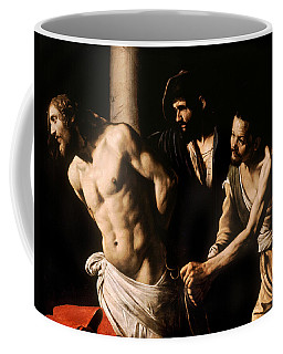 Coffee Mug featuring the painting Christ At The Column by Caravaggio