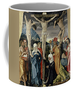 Christ Crucified With The Thieves, Saints, And A Female Donor, 1512  Coffee Mug