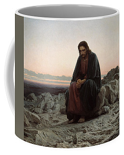 Coffee Mug featuring the painting Christ In The Desert by Ivan Kramskoi
