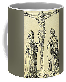 Christ On The Cross With Mary And John The Baptist Coffee Mug