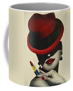 Christion Dior Red Hat Lady Coffee Mug by Jacqueline Athmann