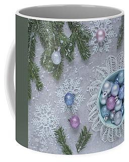 Coffee Mug featuring the photograph Christmas Baubles And Snowflakes by Kim Hojnacki