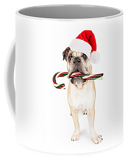 Christmas Bulldog Eating Candy Cane Coffee Mug