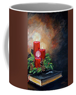 Coffee Mug featuring the painting Christmas Candles by Alan Lakin